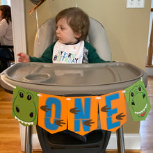 "Load image into Gallery viewer, Dinosaur ""ONE"" High Chair Banner"