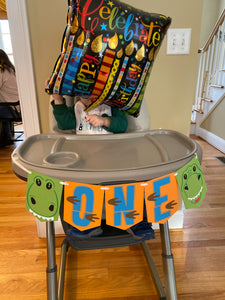 "Dinosaur ""ONE"" High Chair Banner"