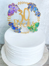 Load image into Gallery viewer, Gemstone & Gold Wreath Cake Topper