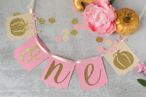 Light Pink and Gold Pumpkin High Chair Banner