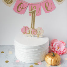 Load image into Gallery viewer, Pink & Gold Custom Pumpkin One Cake Topper, Personalized Cake Smash Topper