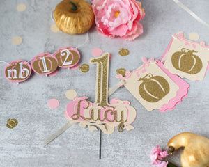 Pink & Gold Pumpkin First Year Picture Banner