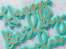 Load image into Gallery viewer, Blue Ombre Happy Birthday Cake Topper, Personalized Birthday Decorations