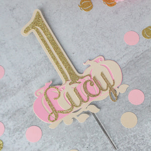 Pink & Gold Custom Pumpkin One Cake Topper, Personalized Cake Smash Topper
