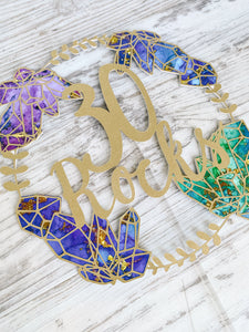Gemstone & Gold Wreath Cake Topper
