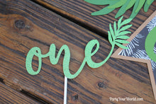Load image into Gallery viewer, Tropical ONE Cake Topper, Green Palm Leaf 1st Birthday Cake Topper