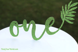 Tropical ONE Cake Topper, Green Palm Leaf 1st Birthday Cake Topper