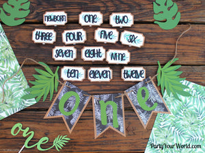 Tropical First Year Photo Clips, 12 Month Picture Banner, Boy's 1st Birthday Party Decorations