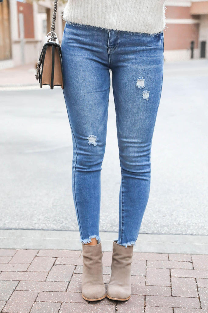 What a Day Distressed Denim Mid-Wash Jeans