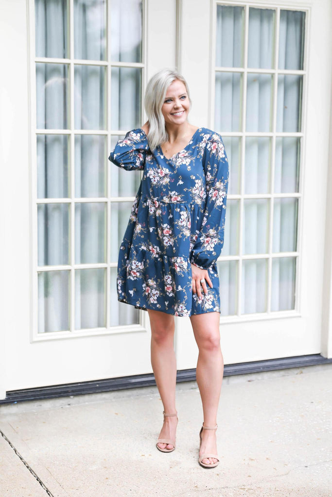 "Because of You Blue Floral Dress ""Inspired by Shanna Hutcheson"""