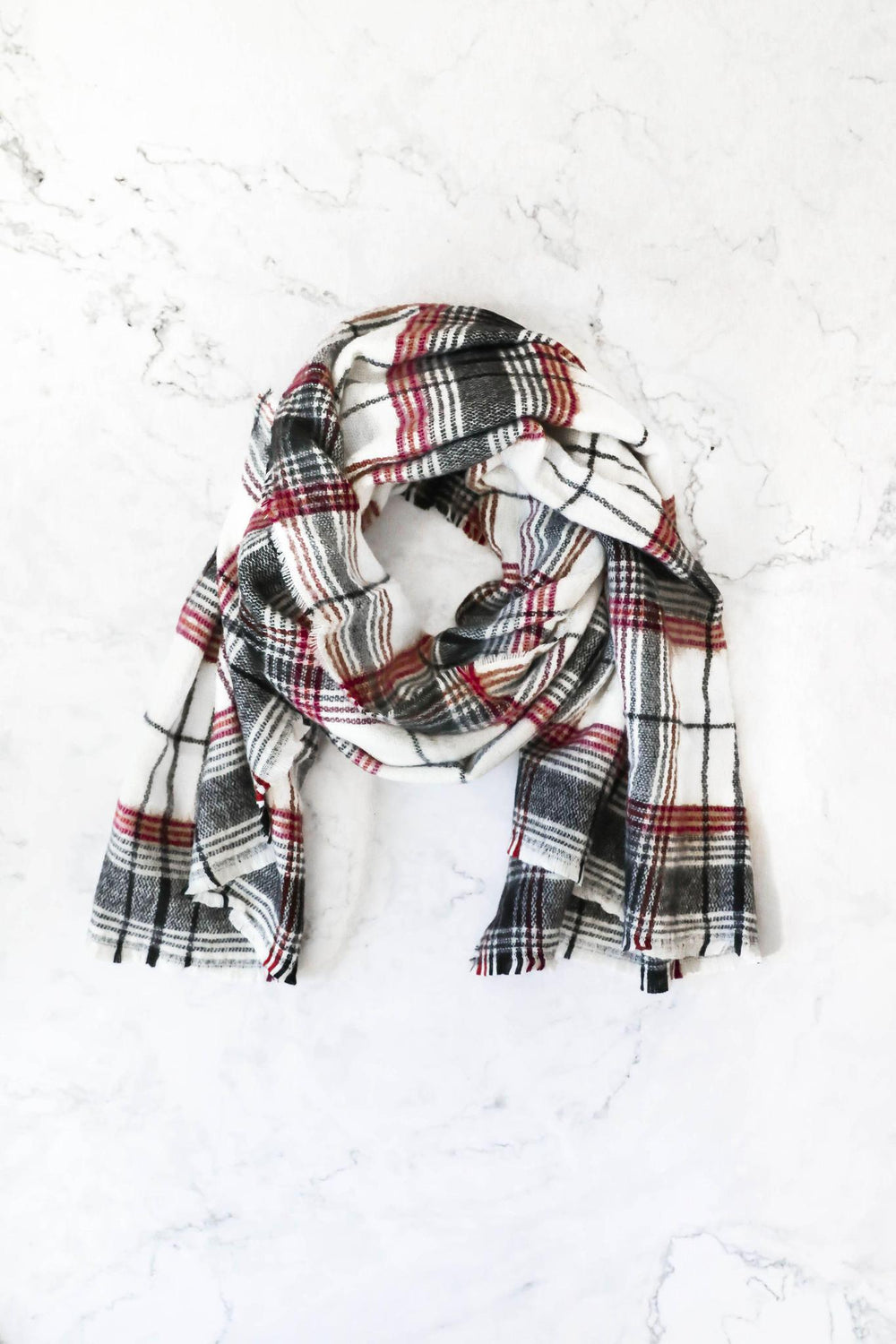 Mistletoe Red and Black Plaid Scarf