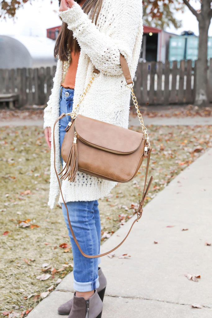 Hey There Brown Faux Leather Tassel Bag