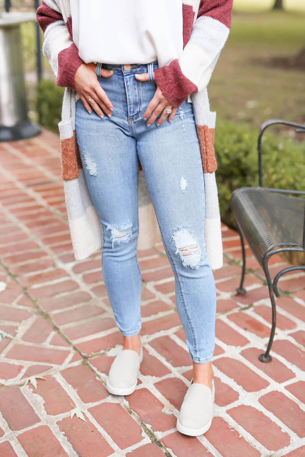 "Get Out There and Win Light Wash Distressed Jeans ""Inspired by Shanna Hutcheson"""