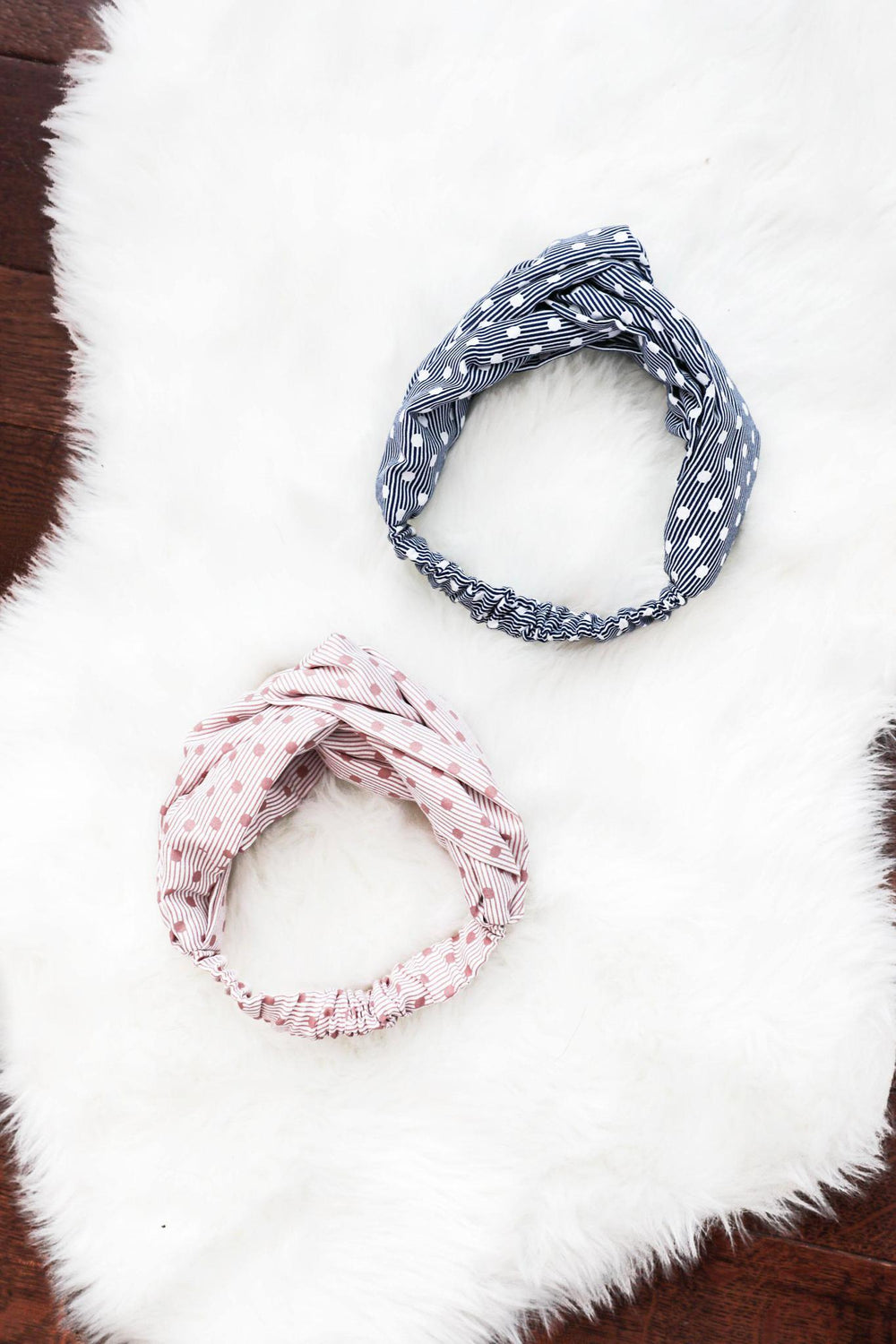 Pink & Denim Polkadot Knot Headband Set