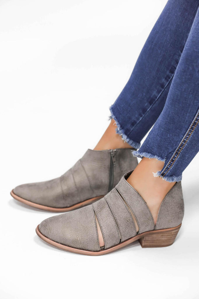 A Good Sole Silver Strappy Booties