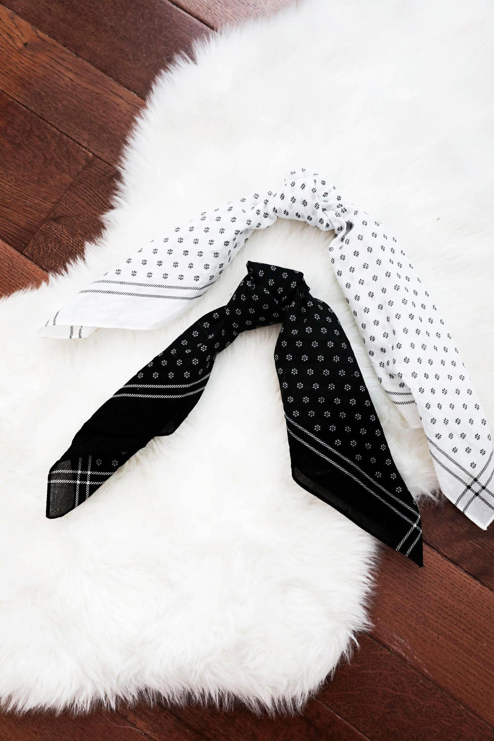 Black & White Hair Bandana Set