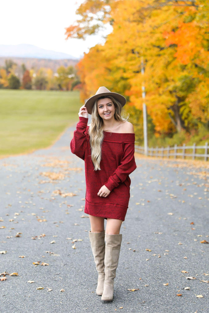 Mind Over Matter Off the Shoulder Sweater Dress