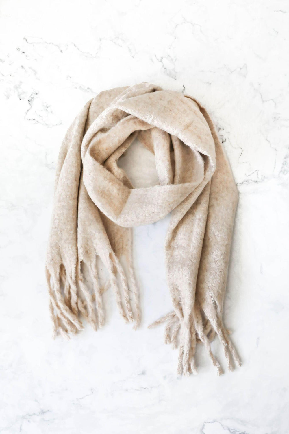 Wrap Me Up Buttercup Camel Tassel Scarf