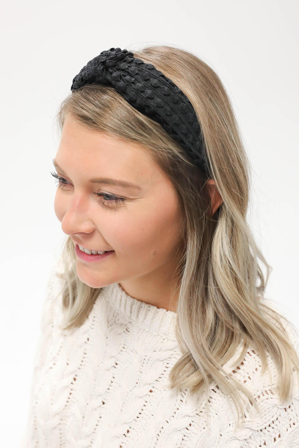 Knotted Knit Headband Black