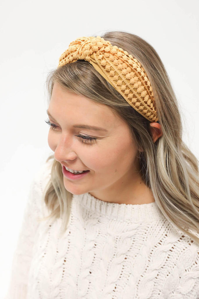 Knotted Knit Headband Yellow