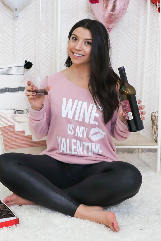 Wine is My Valentine Blush Long Sleeve T-Shirt