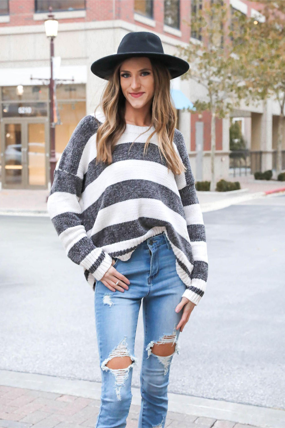 Too Cool for You Chenille Navy Striped Sweater