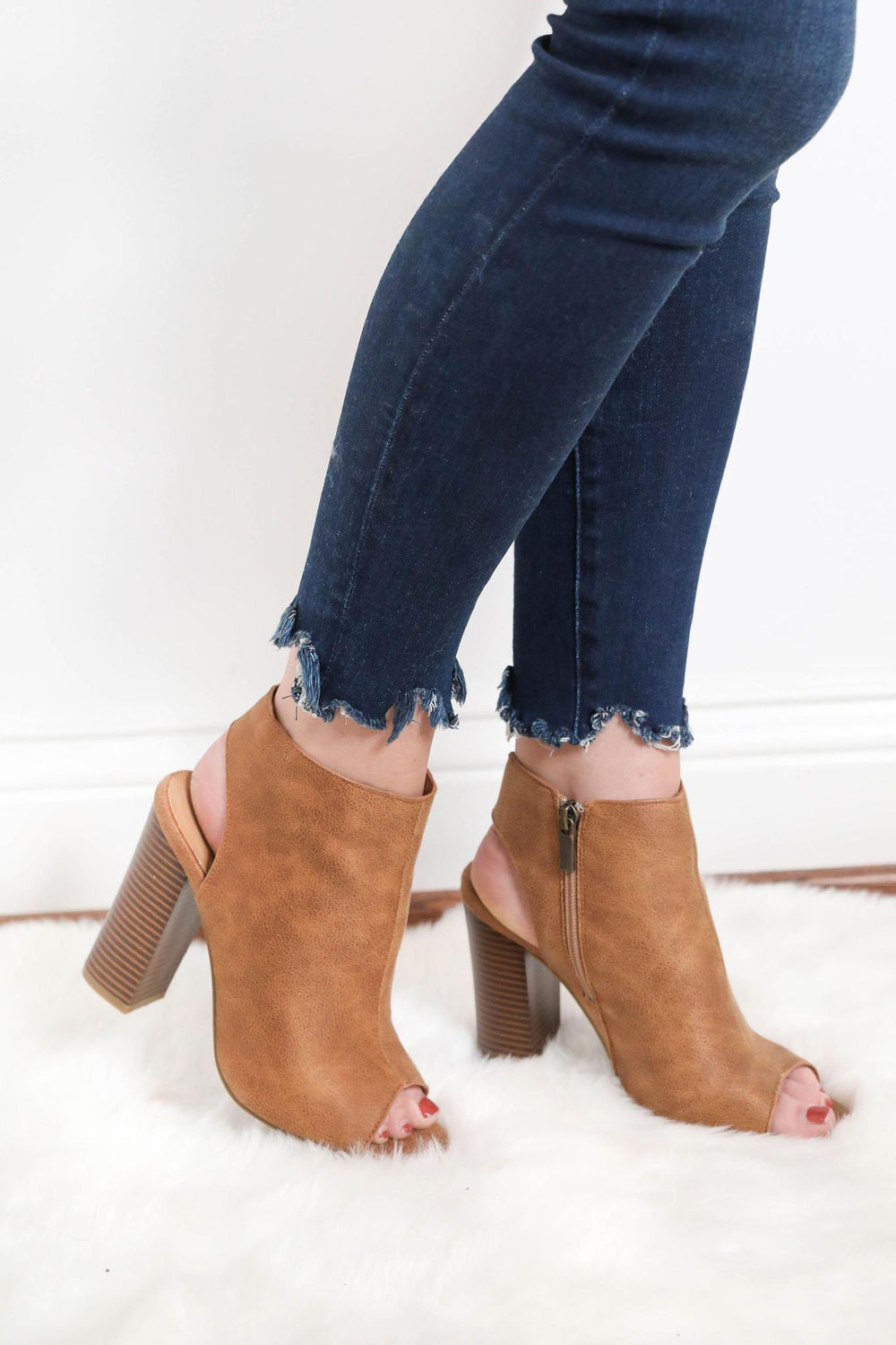 Sneak Around Peep Toe Booties - Brown