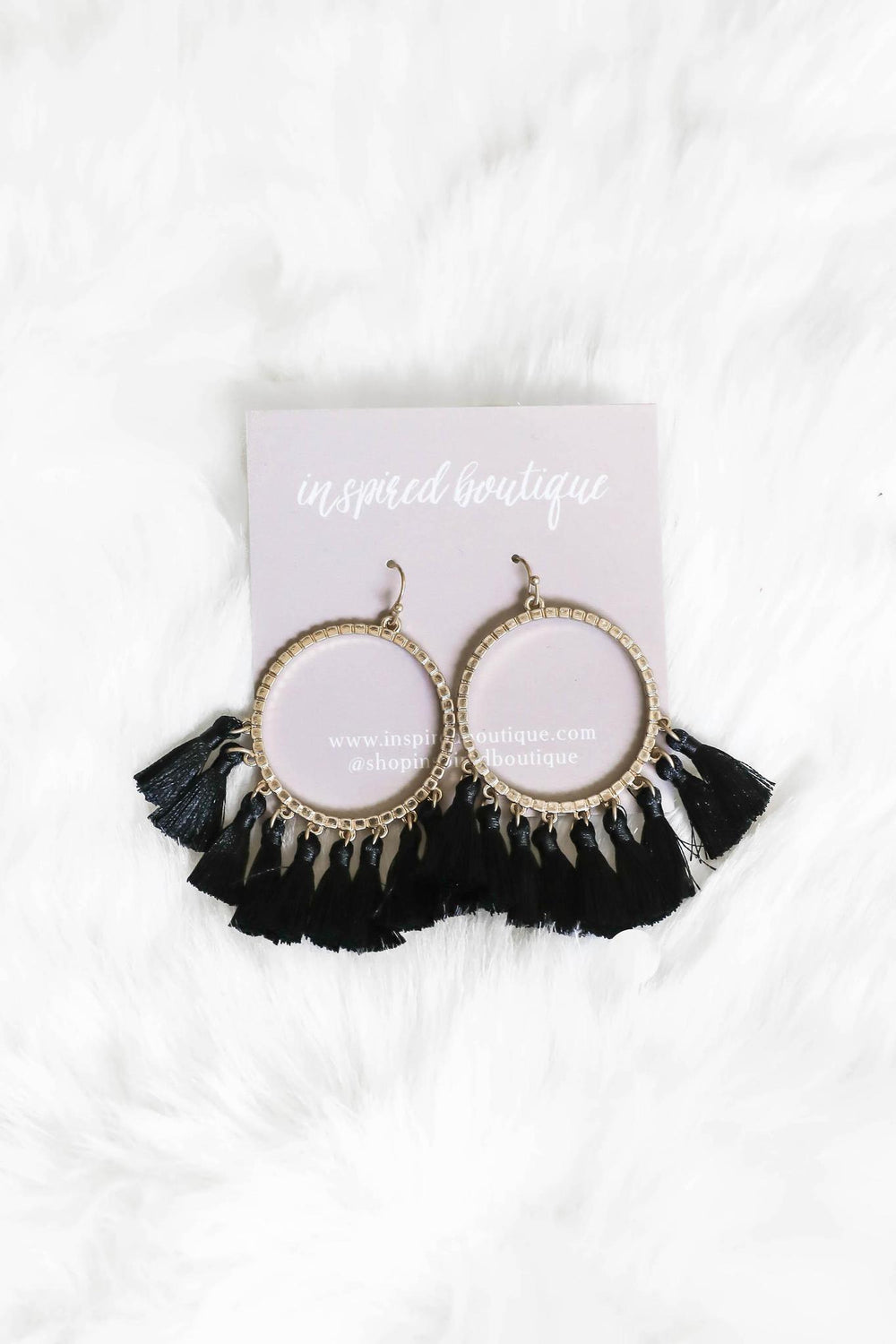 You are the One Tassel Earrings - Black