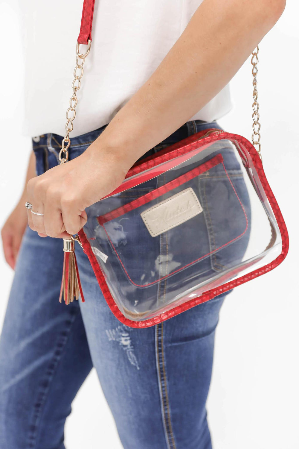 Game Day Clear Stadium Bag RED