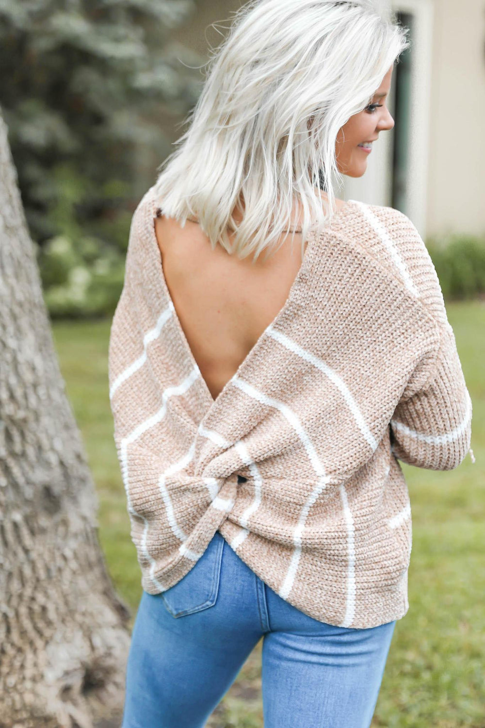 "Striped Cross Back Sweater in Tan ""Inspired By Shanna Hutcheson"""