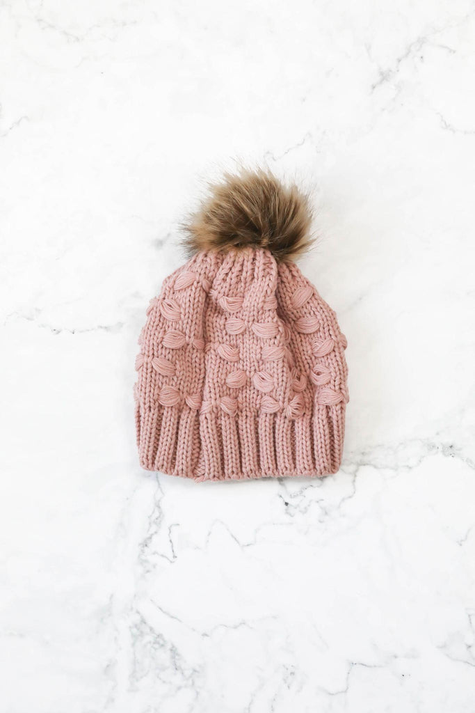 Winter Cheer Pink Knit Beanie