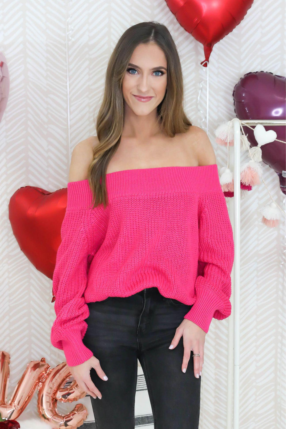 Be Bold Off the Shoulder Hot Pink Sweater