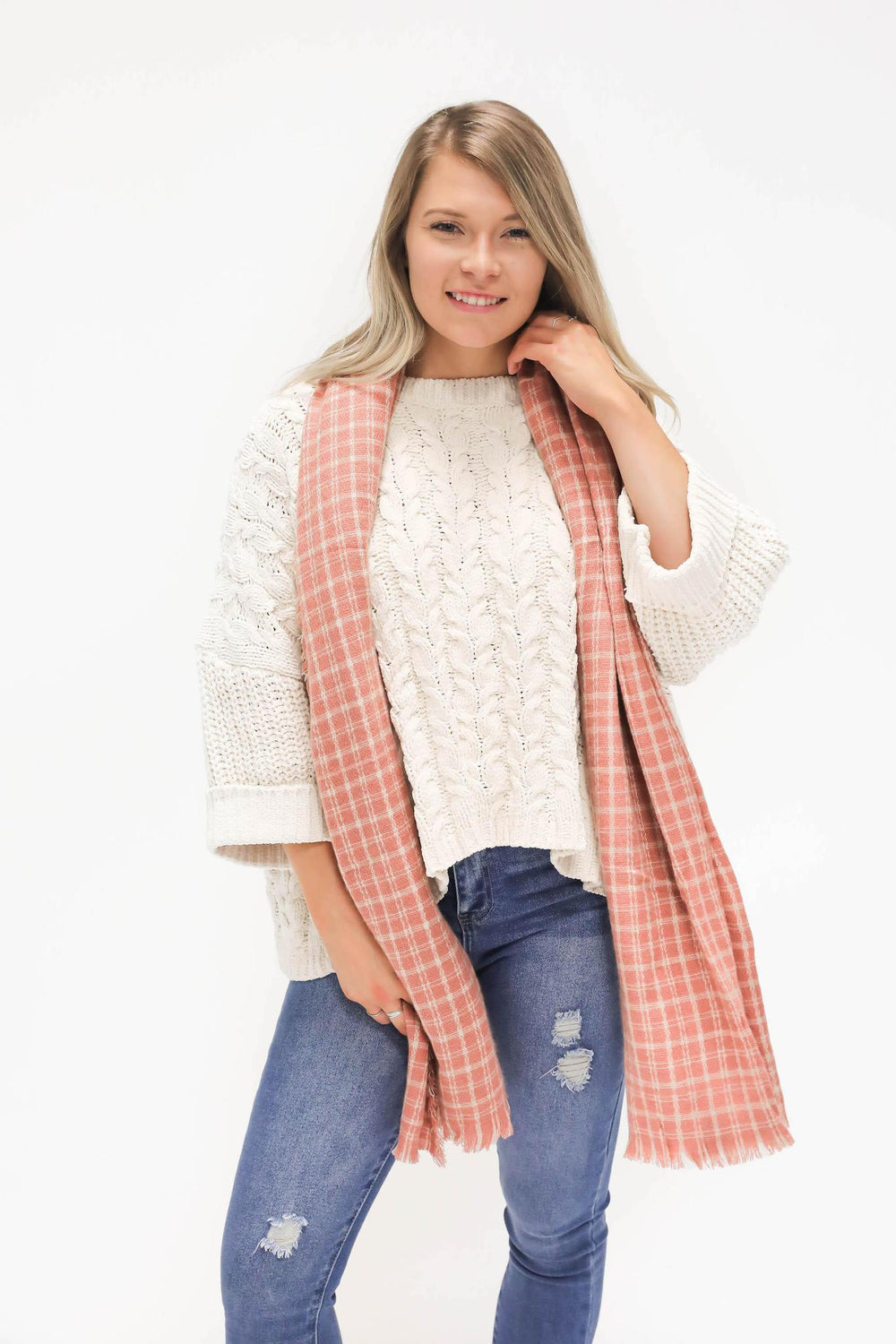 Cheesin' Checkered Pink Scarf