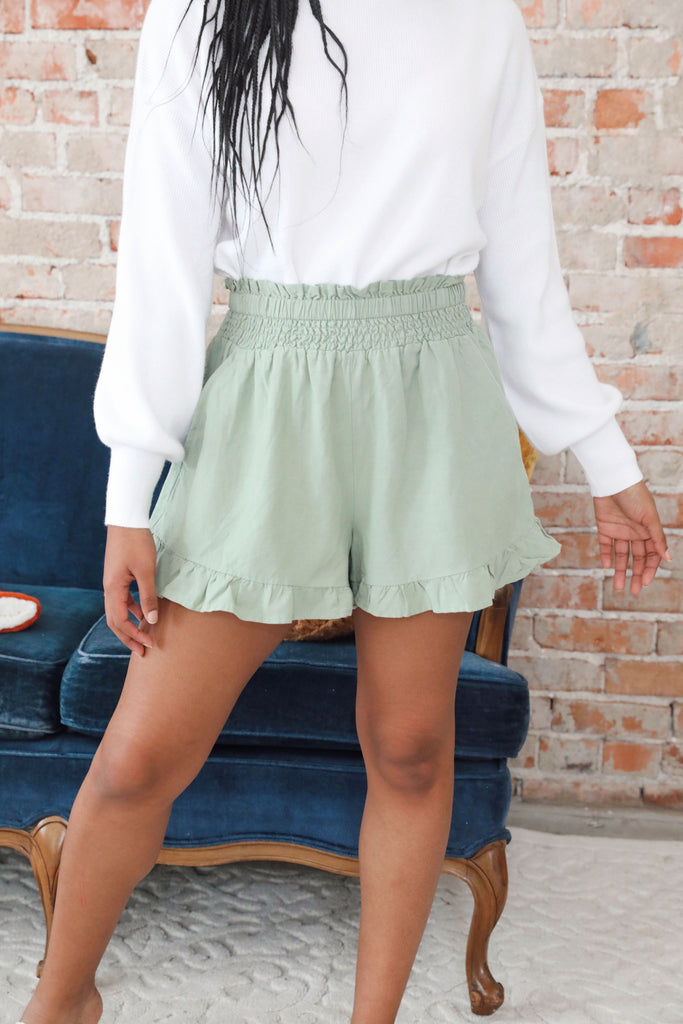 Amy Ruffle Smocked Shorts - Sage