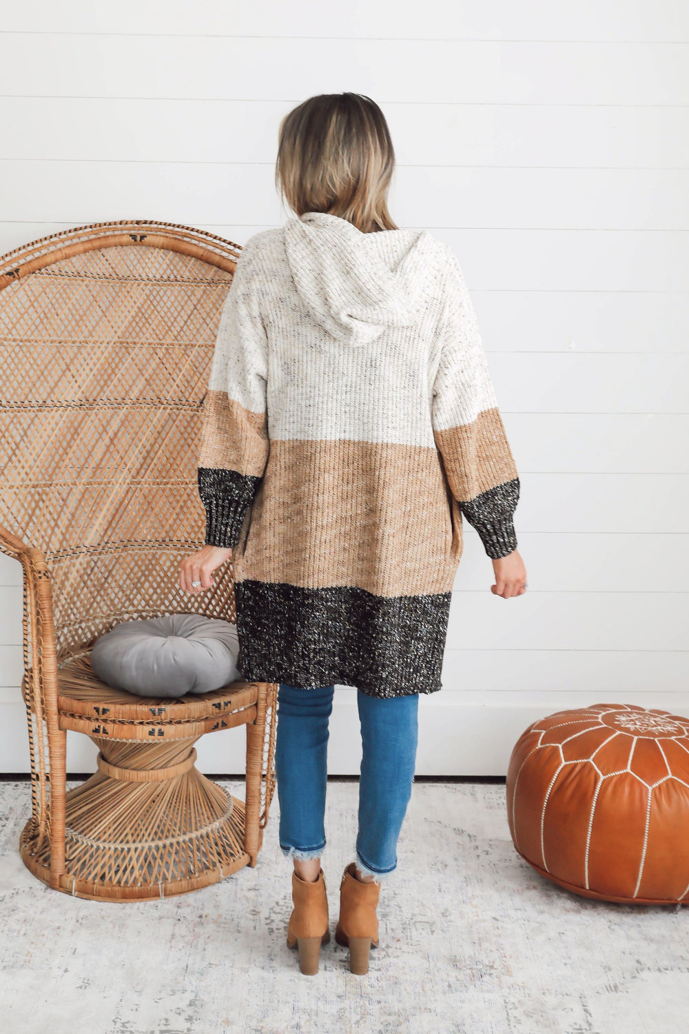 Autumn Skies Color Block Cable Knit Cardigan