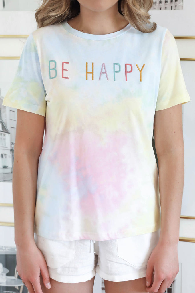 Be Happy Embroidered Tie Dye Tee