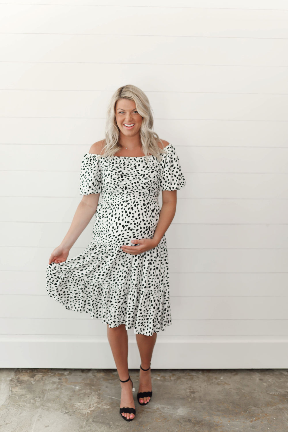 Black and White Spotted Midi Dress Inspired by Shelby Ditch