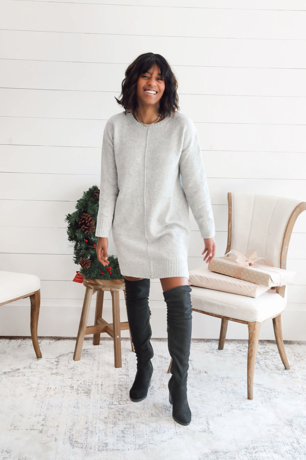 Blakely Gray Knit Sweater Dress