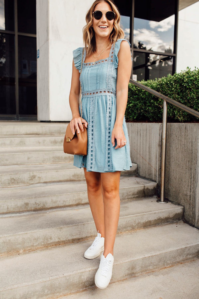 Blue Me Away Eyelet Dress Inspired by Ashley from Twenties Girl Style