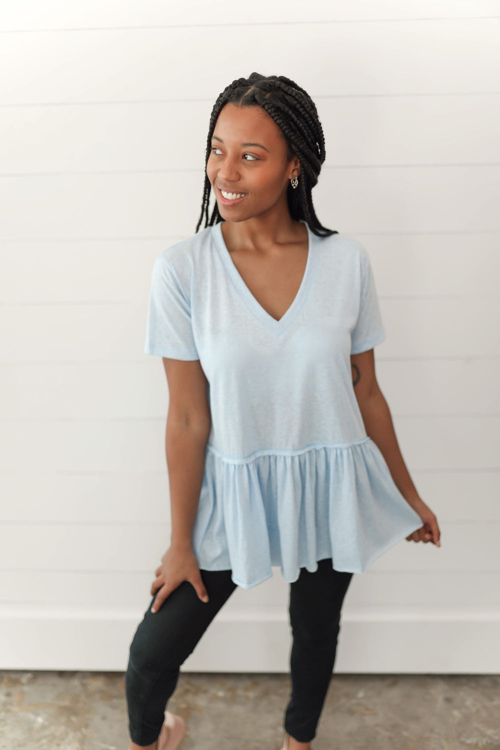 Blue Skies Casual Peplum Top Inspired by Shelby Ditch