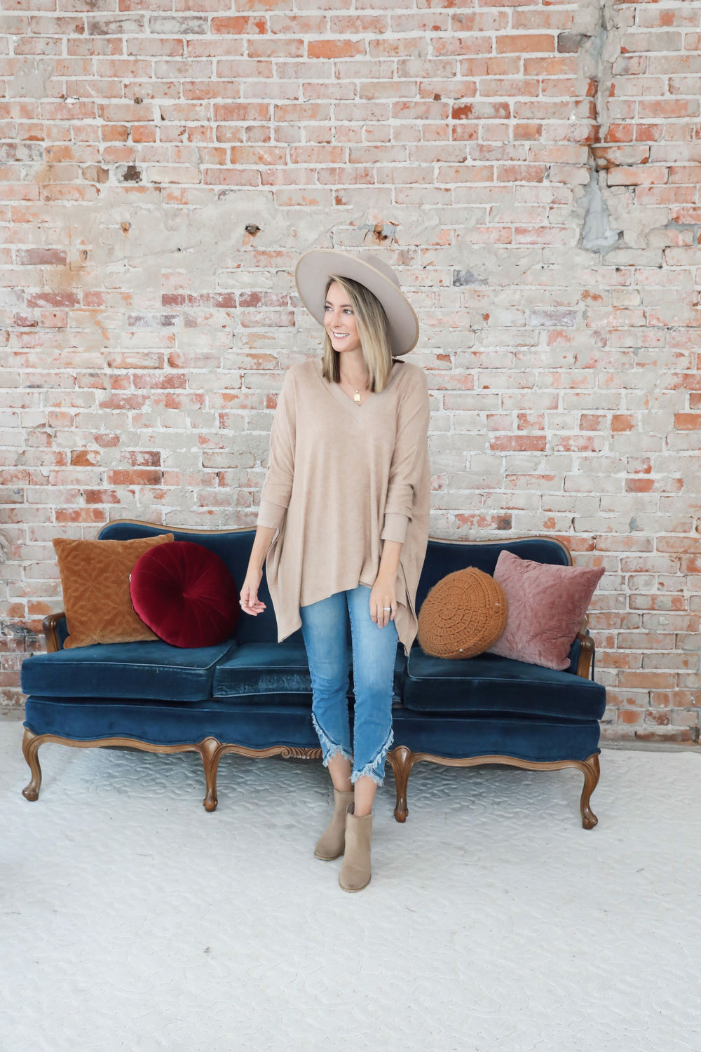 RESTOCK Tan Bright Future Flowy Knit Camel Poncho Inspired by Taylor Brown