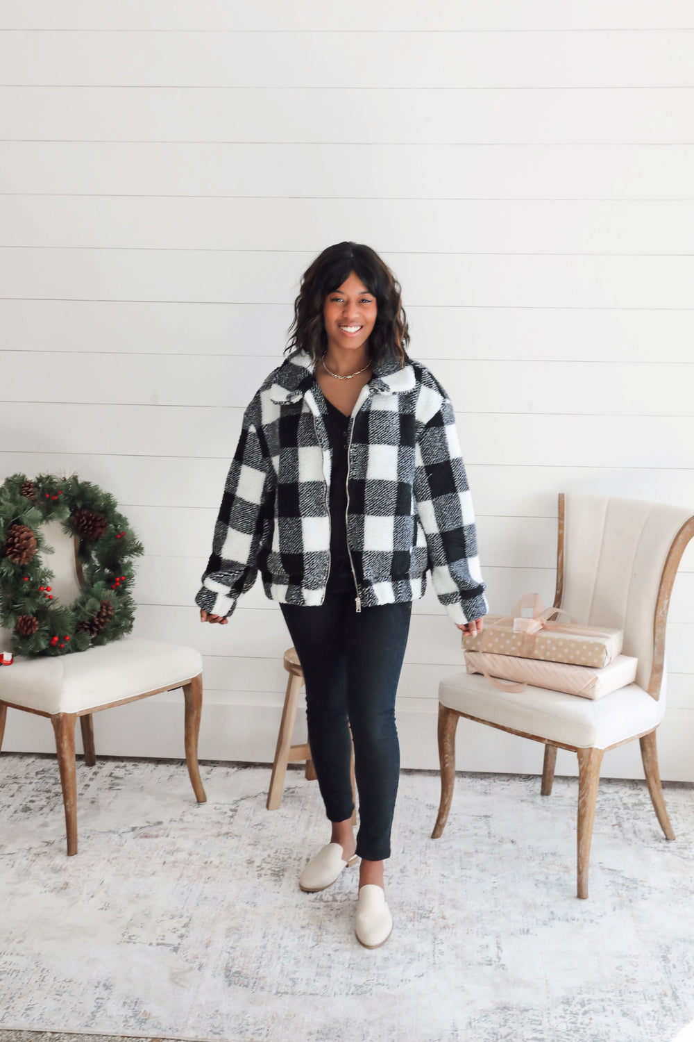 RESTOCK Buffalo Plaid Teddy Coat