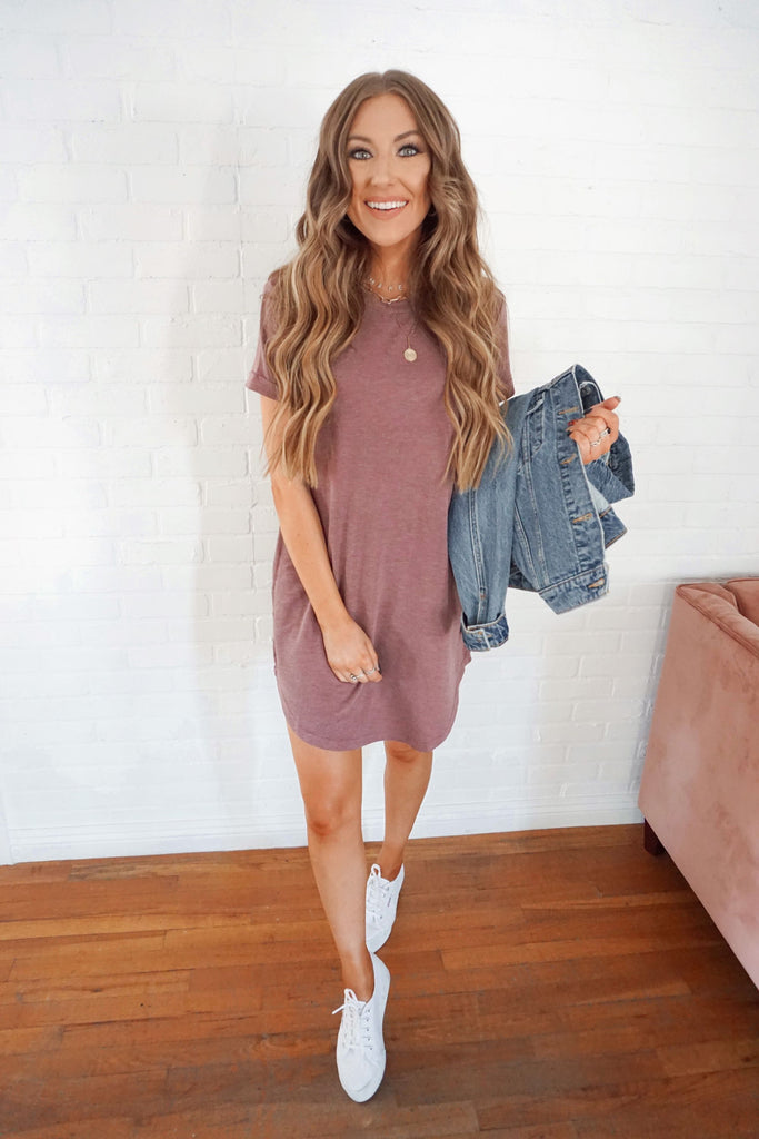 Burgundy T-Shirt Dress Inspired by Makenna Christine