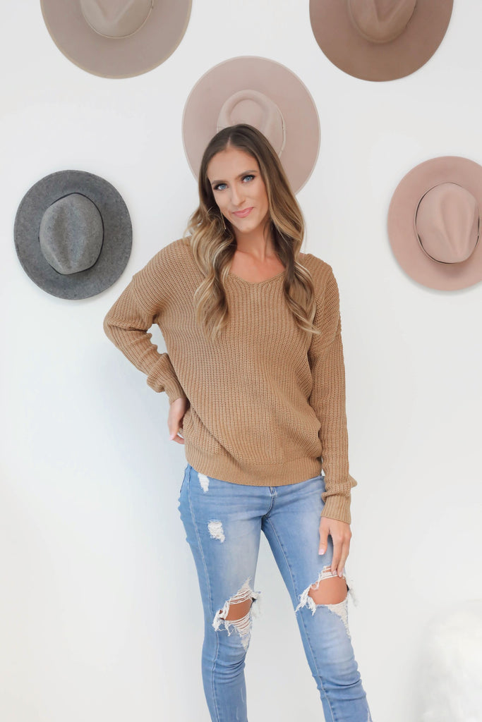 Camel Open Back Sweater