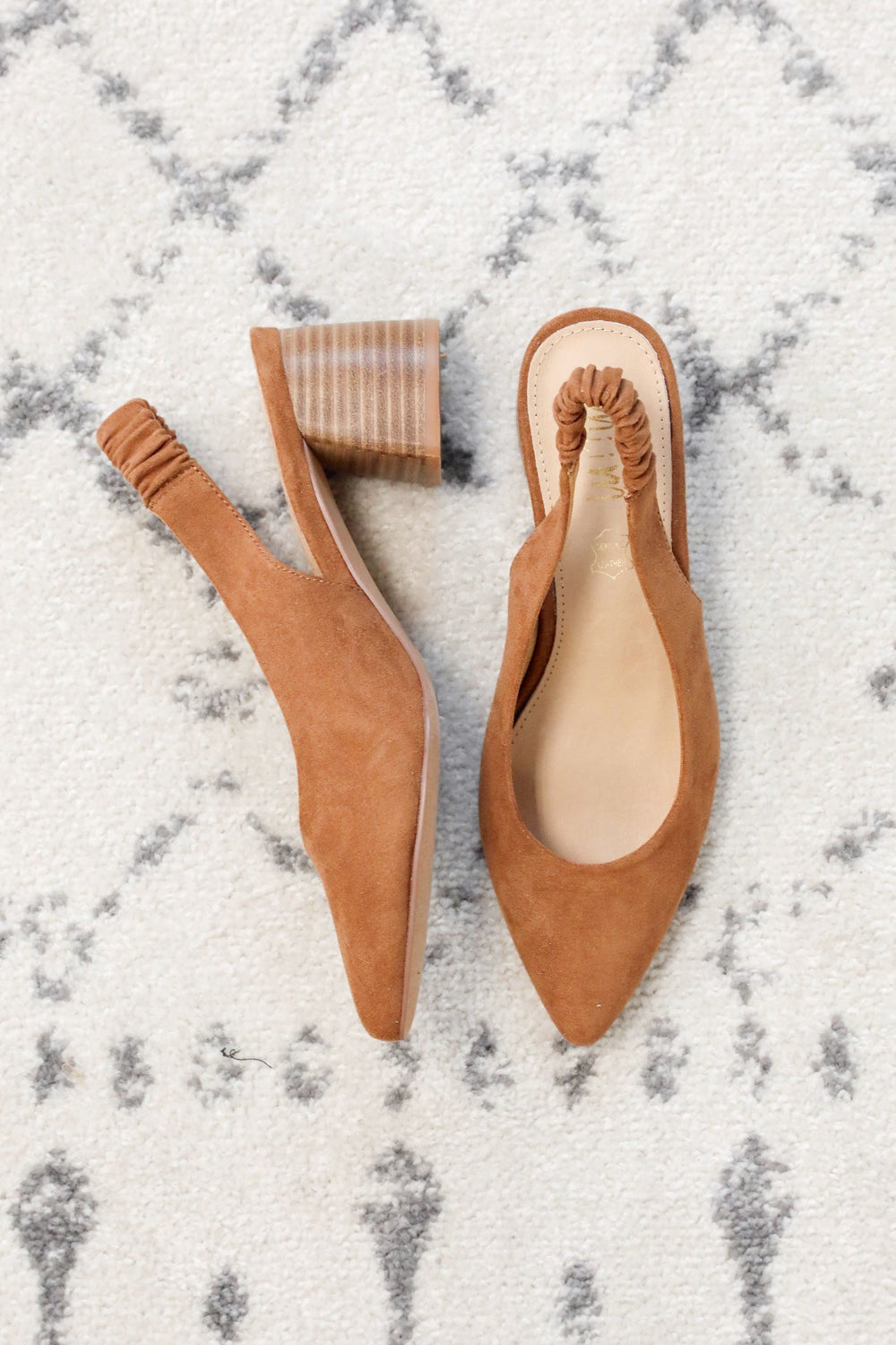Camel Slingback Mule Heels Inspired by Amanda Johnson