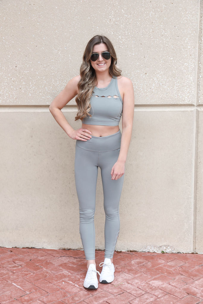 Center Stage Diamond Cutout Leggings - Sage