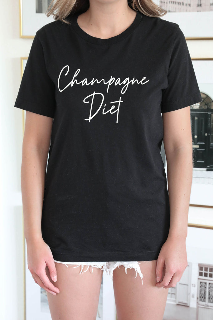 Champagne Diet Black T-Shirt