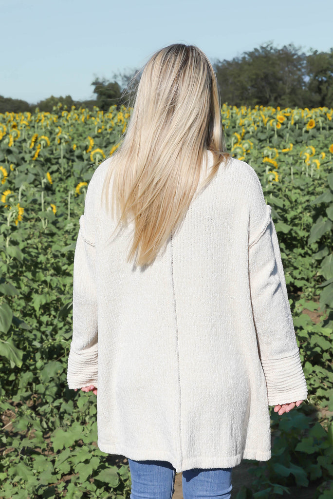Channel your Inner Chenille Ivory Cardigan