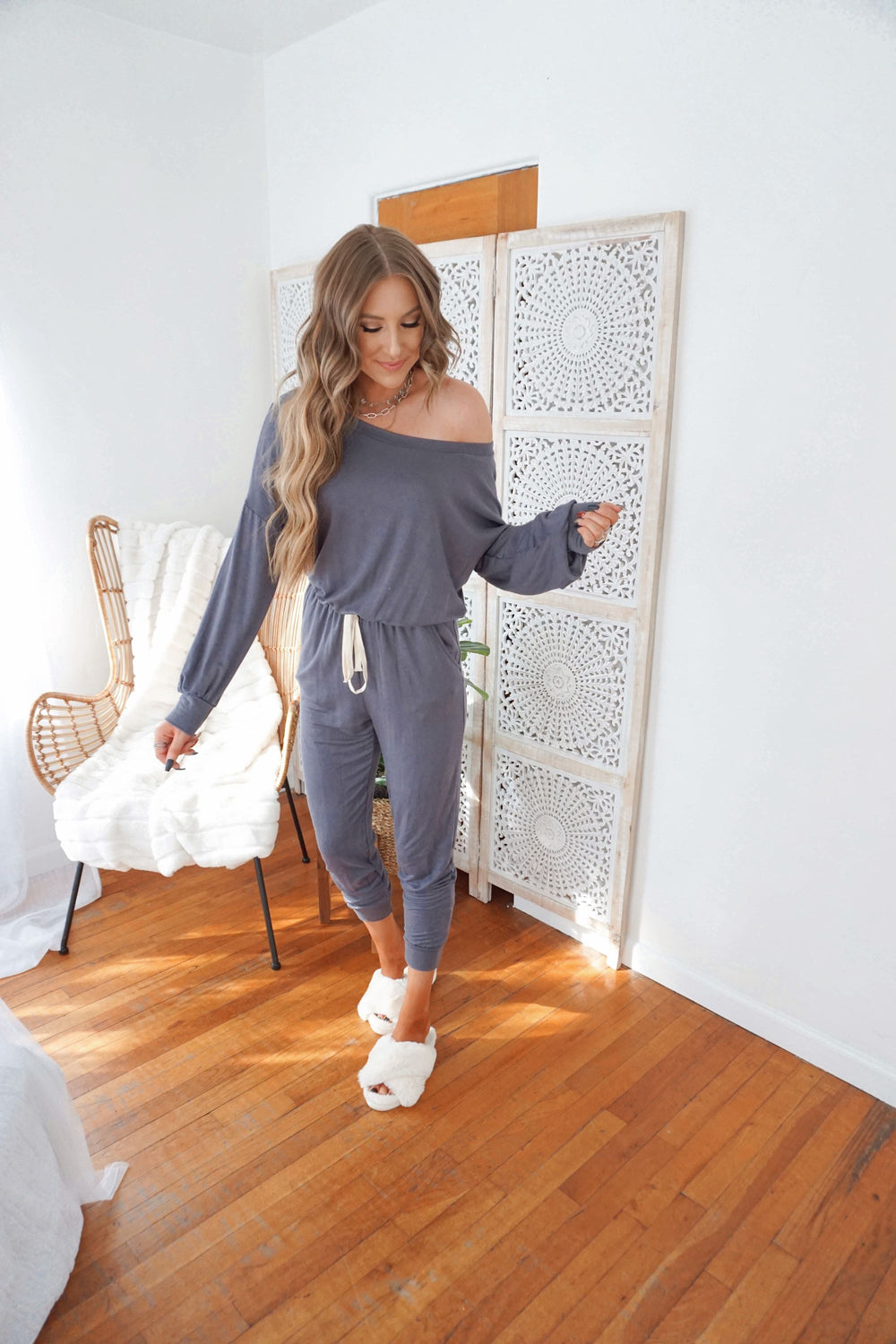 Charcoal Slouch Jumpsuit Inspired by Makenna Christine