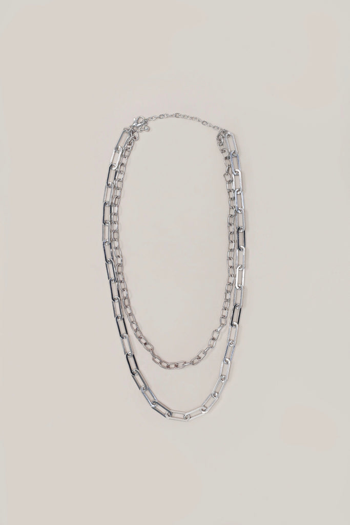 Chelsea Double Chain Necklace - Silver